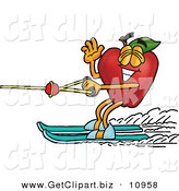 Clip Art of a Smiling Red Apple Character Mascot Waving and Water Skiing by Toons4Biz