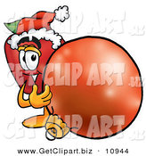 Clip Art of a Smiling Red Apple Character Mascot Wearing a Santa Hat, Next to a Christmas Bauble by Toons4Biz