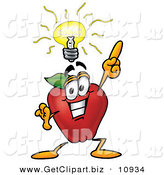 Clip Art of a Smiling Red Apple Character Mascot with a Bright Idea by Toons4Biz