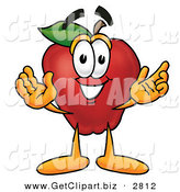 Clip Art of a Smiling Red Apple Character Mascot with Open Arms While Greeting Someone by Toons4Biz
