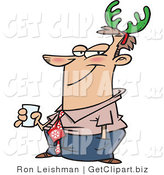 Clip Art of a Smug Man Wearing Green Christmas Antlers on His Head by Toonaday