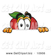 Clip Art of a Sneaky Red Apple Character Mascot Peeking over a Horizontal Surface by Toons4Biz