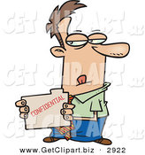 Clip Art of a Sneaky White Businessperson Looking at a Confidential File by Toonaday