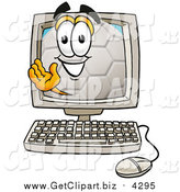 Clip Art of a Soccer Ball Mascot Waving from Inside a Computer Screen by Toons4Biz