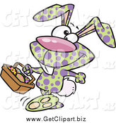 Clip Art of a Speckled Easter Bunny Carrying a Basket of Eggs by Toonaday