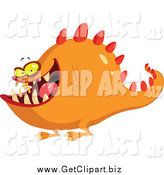 Clip Art of a Spiky Orange Monster by Yayayoyo