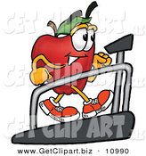 Clip Art of a Sporty and Athletic Red Apple Character Mascot Walking on a Treadmill in a Fitness Gym by Toons4Biz