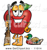 Clip Art of a Sporty and Happy Red Apple Character Mascot Duck Hunting, Standing with a Rifle and Duck by Toons4Biz