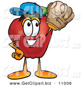 Clip Art of a Sporty and Smiling Red Apple Character Mascot Catching a Baseball with a Glove by Toons4Biz