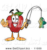 Clip Art of a Sporty and Smiling Red Apple Character Mascot Holding a Fish on a Fishing Pole by Toons4Biz