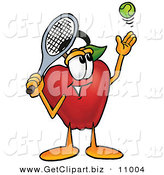 Clip Art of a Sporty Red Apple Character Mascot Preparing to Hit a Tennis Ball over White by Toons4Biz