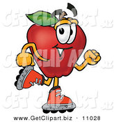Clip Art of a Sporty Red Apple Character Mascot Roller Blading on Inline Skates on White by Toons4Biz