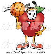 Clip Art of a Sporty Red Apple Character Mascot Spinning a Basketball on His Finger by Toons4Biz