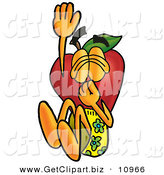 Clip Art of a Sporty Red Delicious Apple Character Mascot Plugging His Nose While Jumping into Water by Toons4Biz