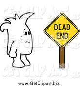 Clip Art of a Squiggle Guy and a Dead End Sign by Toons4Biz