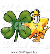 Clip Art of a Star Character with a St Patricks Day Four Leaf Clover by Toons4Biz