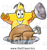 Clip Art of a Star Serving a Thanksgiving Turkey on a Platter by Toons4Biz