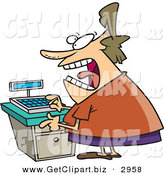 Clip Art of a Stressed out Caucasian Clerk Female at a Cash Register in a Store by Toonaday