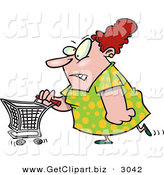 Clip Art of a Stressed out White Woman Pushing a Shopping CartStressed out White Woman Pushing a Shopping Cart by Toonaday