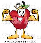Clip Art of a Strong Red Apple Character Mascot Flexing His Arm Bicep Muscles by Toons4Biz