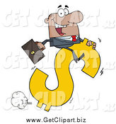 Clip Art of a Successful Black Businessman Riding on a Hopping Dollar Symbol by Hit Toon
