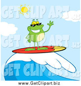 Clip Art of a Surfer Frog Waving and Riding a Wave by Hit Toon
