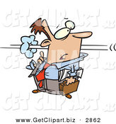 Clip Art of a Surprised Wide Eyed Business Man Confused As a Co-Worker Speeds by in a Blur by Toonaday
