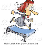 Clip Art of a Sweaty Red Headed Business Woman Running on a Treadmill by Toonaday