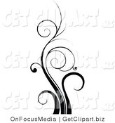 Clip Art of a Tall Black Flourish Design Element of Curling Blades of Grass by OnFocusMedia