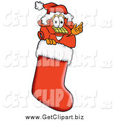 Clip Art of a Telephone Mascot Waving in a Christmas Stocking by Toons4Biz