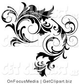 Clip Art of a Thick Black Curlying Leafy Vine Design by OnFocusMedia