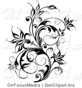 Clip Art of a Thick Black Flowering Vine Flourish with Curly Tendrils Growing up by OnFocusMedia