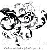 Clip Art of a Thick Black Vine Branch Flourish with Curly Tendrils Growing down by OnFocusMedia