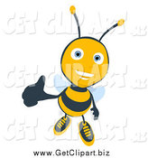 Clip Art of a Thumbs up Bee by Julos