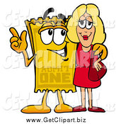 Clip Art of a Ticket Talking to a Pretty Blond Woman by Toons4Biz