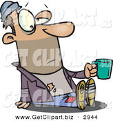 Clip Art of a Tired Caucasian Homeless Beggar Man Sitting on the Ground, Asking for Money by Toonaday