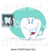 Clip Art of a Tooth Character Holding a Dental X Ray by Hit Toon
