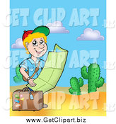 Clip Art of a Traveling Blond Boy Reading a Map in the Desert by Visekart