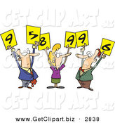 Clip Art of a Trio of White Men and Woman Judges Holding up Number Signs by Toonaday
