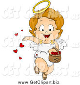 Clip Art of a Valentine Cupid Toddler Girl Spreading Love by BNP Design Studio