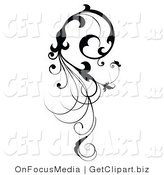 Clip Art of a Vertical Black Silhouetted Scroll Vine Design Element Flowing down by OnFocusMedia