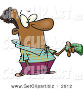 Clip Art of a Wealthy Black Man Holding Money While Making a Purchase by Toonaday
