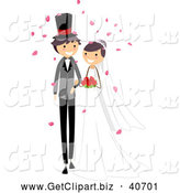 Clip Art of a Wedding Couple Walking Arm in Arm by BNP Design Studio