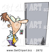 Clip Art of a White Business Man Waiting for an Elevator to Open by Toonaday