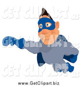 Clip Art of a White Male Blue Super Hero Flying by Julos