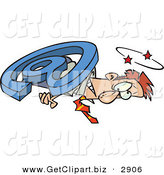 Clip Art of a White Male Businessperson Overwhelmed and Being Squished with an Email Symbol by Toonaday