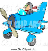 Clip Art of a White Male Pilot Flying a Little Plane by Djart