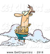 Clip Art of a White Man Happy on Cloud 9 by Toonaday