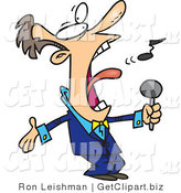 Clip Art of a White Man in a Blue Suit, Singing the Anthem Loudly by Toonaday