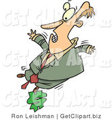 Clip Art of a White Man on a Budget Balancing on One Foot on a Dollar Sign by Toonaday